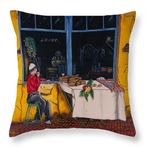 Capri Throw Pillow featuring the painting Breakfast In Capri by V Boge
