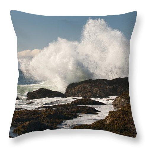 Shoreline Throw Pillow featuring the photograph Breaking On The Shore by Chad Davis