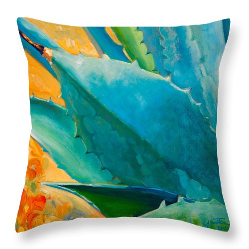 Agave Throw Pillow featuring the painting Breaking Out by Athena Mantle