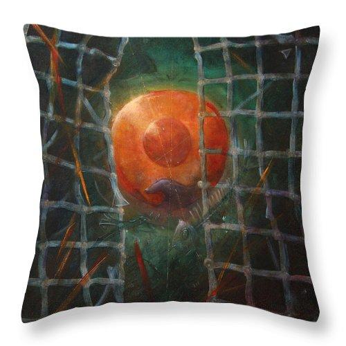 Orange Throw Pillow featuring the painting Breakthrough by Darko Topalski