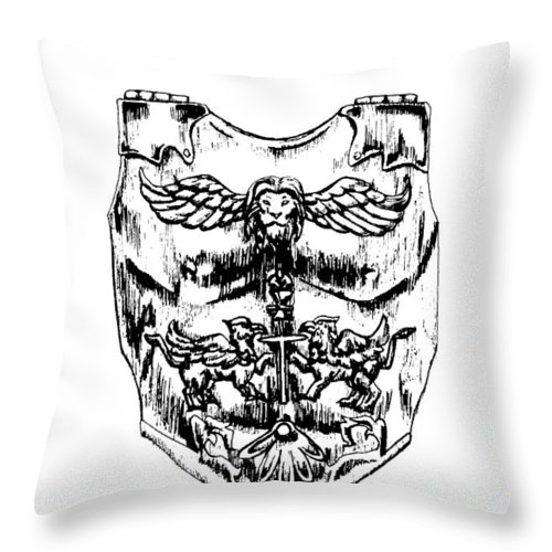 Breastplate Throw Pillow featuring the drawing Breastplate Of Righteousness by Maryn Crawford