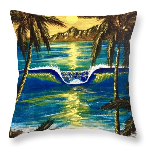 Tropical Throw Pillow featuring the painting Breathe In The Moment by Paul Carter