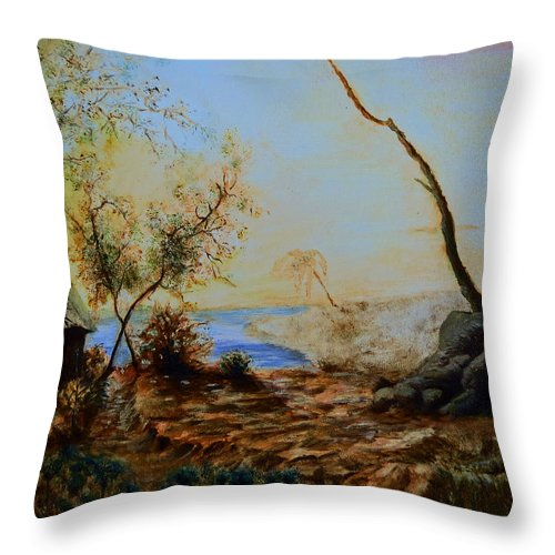 Hill Throw Pillow featuring the painting Breathing Freely by Abey Mekonnen