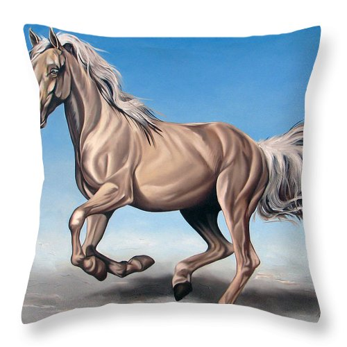Horse Throw Pillow featuring the painting Breeze by Ilse Kleyn