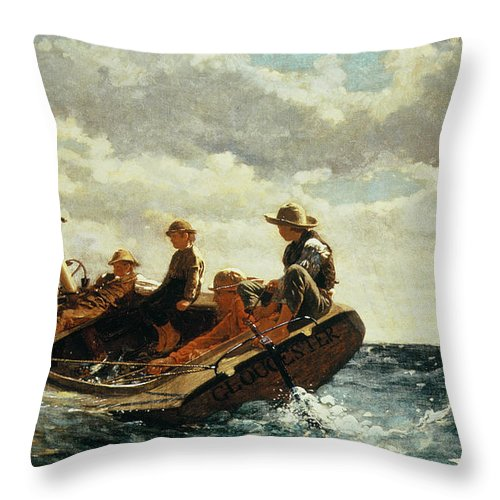 Breezing Up Throw Pillow featuring the painting Breezing Up by Winslow Homer
