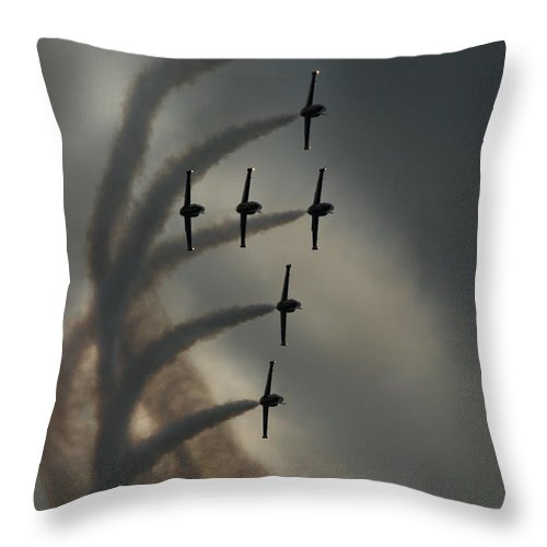 Breitling Jet Team Throw Pillow featuring the photograph Breitling Jet Team by Angel Ciesniarska