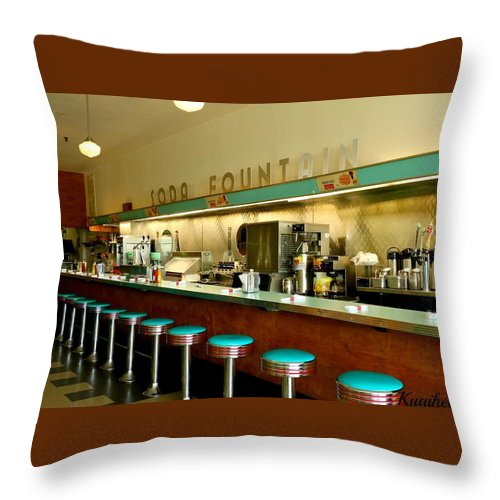 Diner Throw Pillow featuring the photograph Brent's Drugs by Lisa Brooks-Naki
