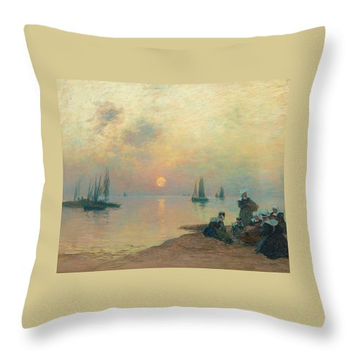 Fernand Legout-g�rard Throw Pillow featuring the painting Breton Coastal Landscape At Sunset by Fernand Legout
