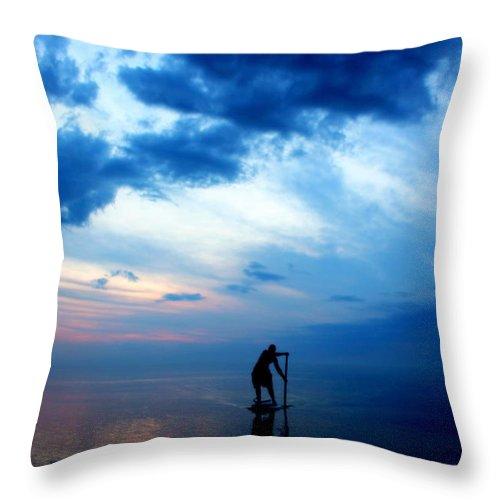Grand Bend Throw Pillow featuring the photograph Brian's Evening Workout 5 by John Scatcherd