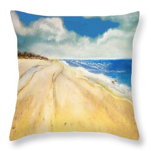 Bribie Throw Pillow featuring the pastel Bribie Island by Gloria Dietz-Kiebron