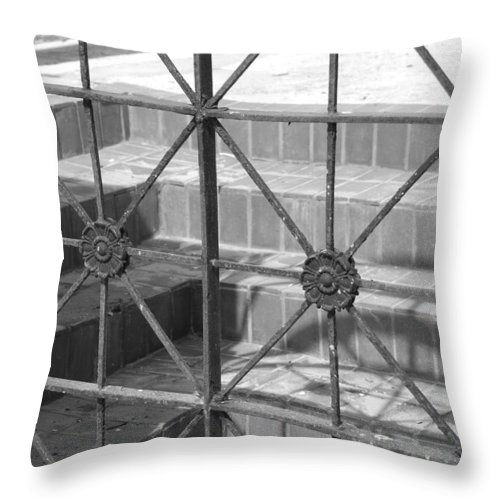 Black And White Throw Pillow featuring the photograph Bricks And Iron by Rob Hans