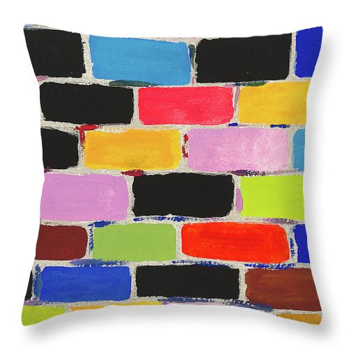 Contemporary Throw Pillow featuring the painting Bricks Of Life by Bjorn Sjogren