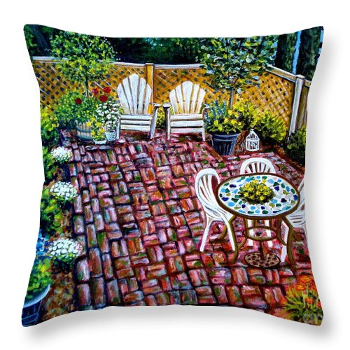 Landscape Throw Pillow featuring the painting Brickwork by Elizabeth Robinette Tyndall