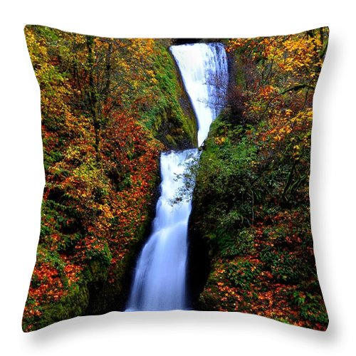 Stream Throw Pillow featuring the photograph Bridal Veil Falls by Noah Cole