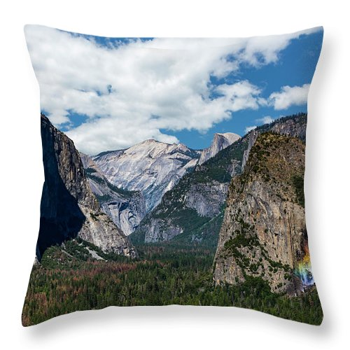 Yosemite Throw Pillow featuring the photograph Bridal Veil Falls Rainbow by Daniel Kelly