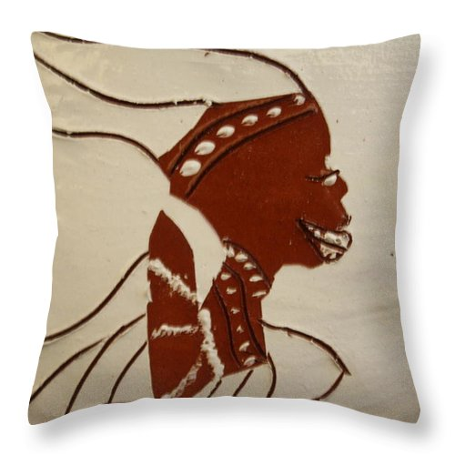 Jesus Throw Pillow featuring the ceramic art Bride 2 - Tile by Gloria Ssali