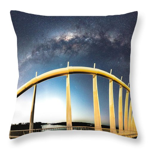 Milky Way Throw Pillow featuring the photograph Bridge Across The Galaxy by Leith Robertson