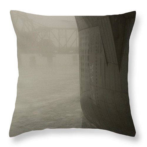 Water Throw Pillow featuring the photograph Bridge And Barge by Tim Nyberg