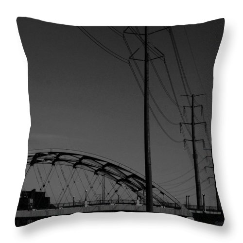 Metal Structures Throw Pillow featuring the photograph Bridge And Power Poles At Dusk by Angus Hooper Iii
