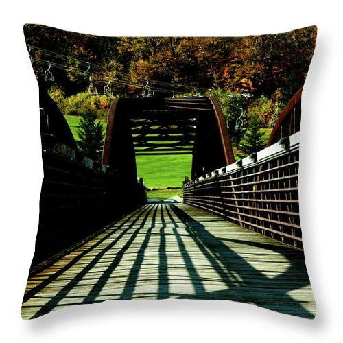 Photograph Throw Pillow featuring the photograph Bridge At Killington by Susan Schumann