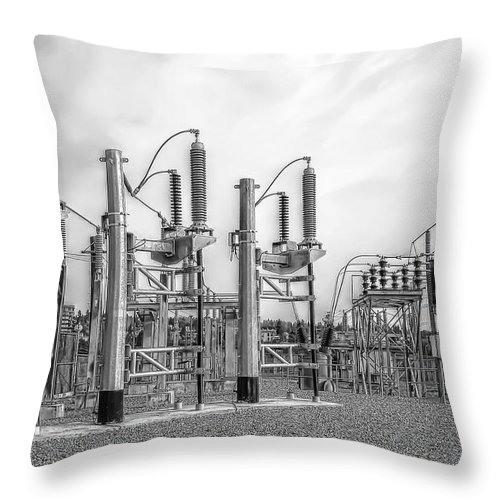 Energy Throw Pillow featuring the photograph Bridge Ave Power Substation - Spokane Washington by Daniel Hagerman