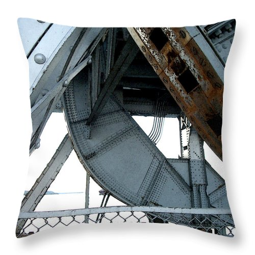 Steel Throw Pillow featuring the photograph Bridge Gears by Tim Nyberg
