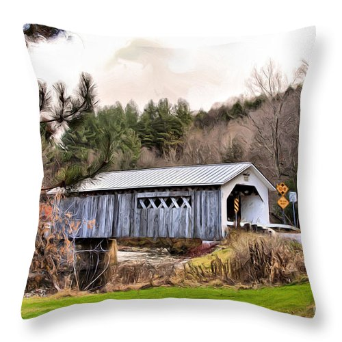 Covered Throw Pillow featuring the mixed media Bridge In Montgomery by Deborah Benoit