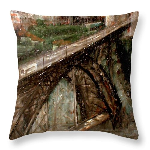 Porto Throw Pillow featuring the painting Bridge Luis I-Oporto by Tomas Castano