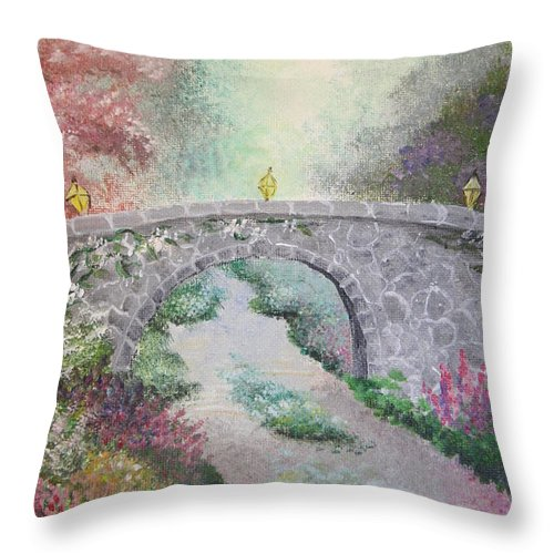 Bridge Throw Pillow featuring the painting Bridge by Melissa Wiater Chaney