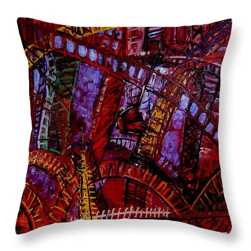 Urban Landscape Throw Pillow featuring the painting Bridge Music Construction by Angelina Marino