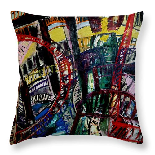 Urban Landscape Painting Throw Pillow featuring the painting Bridge Music Decontruction by Angelina Marino