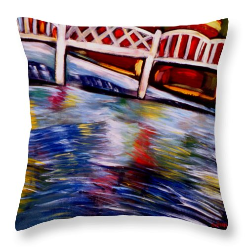 Landscape Throw Pillow featuring the painting Bridge Of The Gods by Angelina Marino