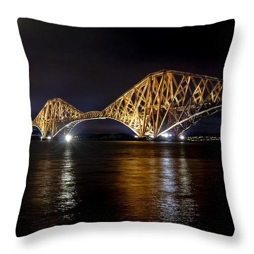 Water Throw Pillow featuring the photograph Bridge Over Water Lights. by Elena Perelman