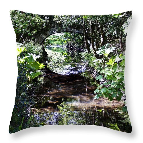 Irish Throw Pillow featuring the photograph Bridge Reflection At Blarney Caste Ireland by Teresa Mucha