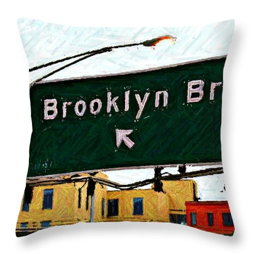 Highway Sign Throw Pillow featuring the digital art Bridge Thisaway Sketch by Randy Aveille