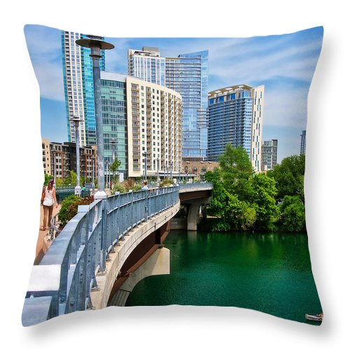 Austin Throw Pillow featuring the photograph Bridge With A View by Zayne Diamond Photographic