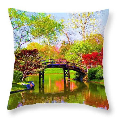 Canvas Print Throw Pillow featuring the painting Bridge With Red Bushes In Spring by Susanna Katherine