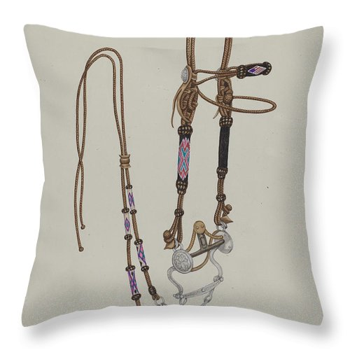Throw Pillow featuring the drawing Bridle by Gordena Jackson