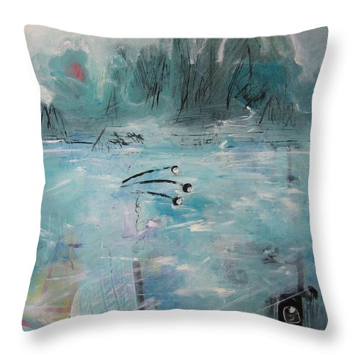 Abstract Paintings Throw Pillow featuring the painting Brierly Beach by Seon-Jeong Kim