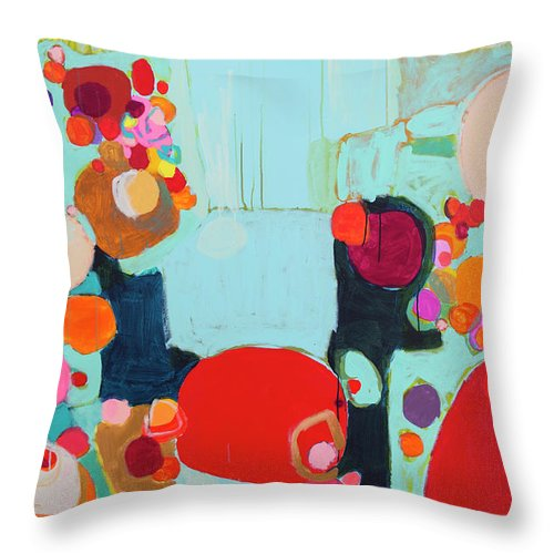 Abstract Throw Pillow featuring the painting Bright As Quiet by Claire Desjardins