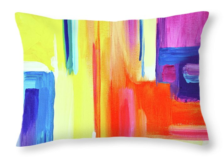 Compelling Vibrant Colorful Minamilist Artwork Consisting Of Mostly Blocky Rectangular Areas . Throw Pillow featuring the painting Bright Blocks by Priscilla Batzell Expressionist Art Studio Gallery