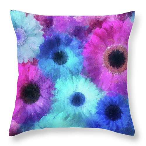 Flowers Throw Pillow featuring the painting Bright Blossoms by Jamie Holbrook