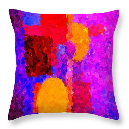 Abstract Throw Pillow featuring the digital art Bright Colours Abstract by Clive Littin