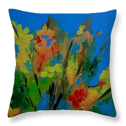 Nature Throw Pillow featuring the painting Bright Flowers On Blue by Judy Swerlick