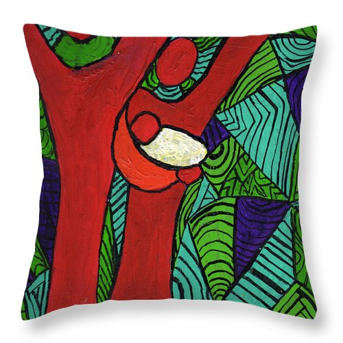 Family Throw Pillow featuring the painting Bright New Day by Wayne Potrafka