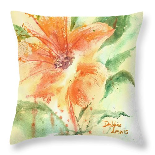 Orange Flower With Yellow Background Throw Pillow featuring the painting Bright Orange Flower by Debbie Lewis