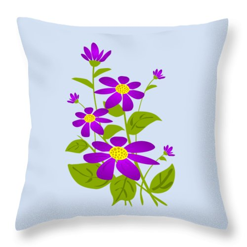 Plant Throw Pillow featuring the digital art Bright Purple by Anastasiya Malakhova