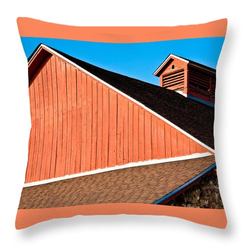 Americana Throw Pillow featuring the photograph Bright Red Barn by Marilyn Hunt