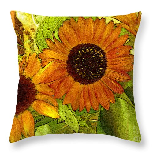 Sunflowers Throw Pillow featuring the digital art Bright Regalia by RC DeWinter