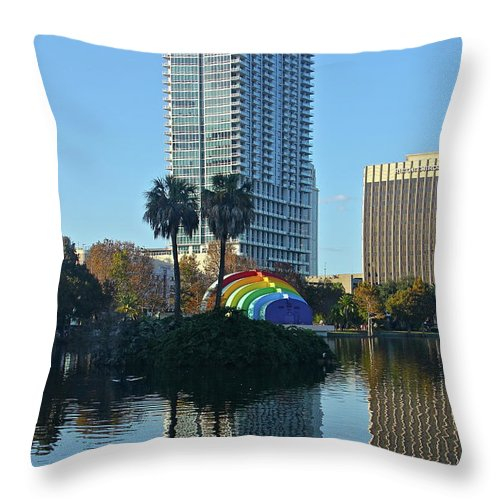 Band Shell Throw Pillow featuring the photograph Bright Spot In Downtown Orlando by Denise Mazzocco